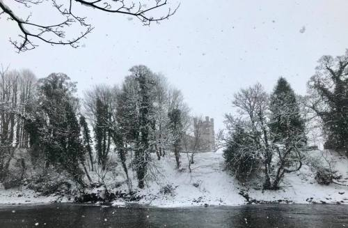 church snow river